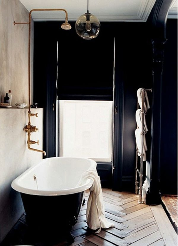 The Paint The Shower Fixture The Ceiling Light Black Walls Lyon Homes Beautiful Bathrooms