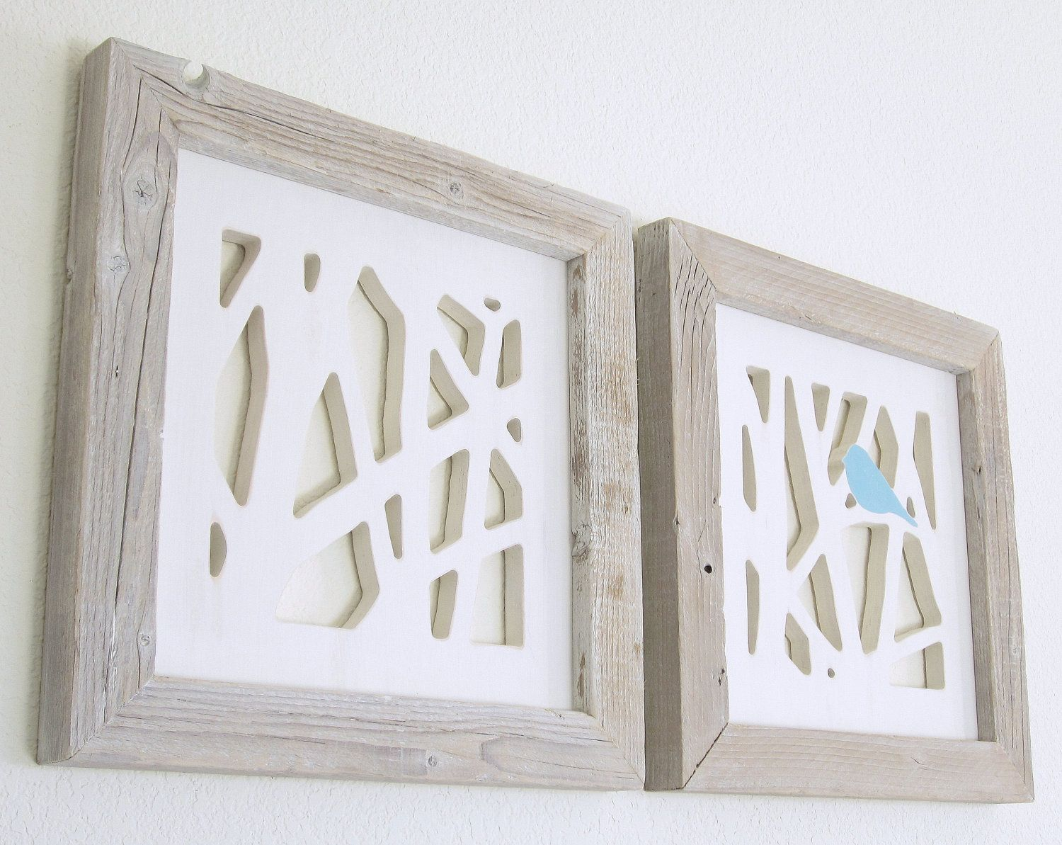Love this one even more with the frames blue bird wall art set