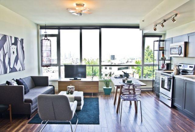 Wohnideen Apartment wohnzimmer bild laminat graues sofa wohnideen wohnzimmer