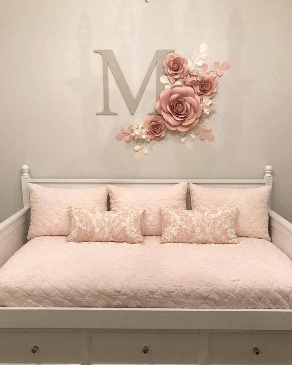 Nursery Wall Art - Nursery Girl Decor - Paper Flowers Wall Art - Paper Flowers for Baby Girl (code:#121)