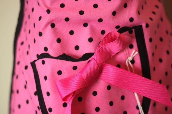 Super cute pink and black half apron