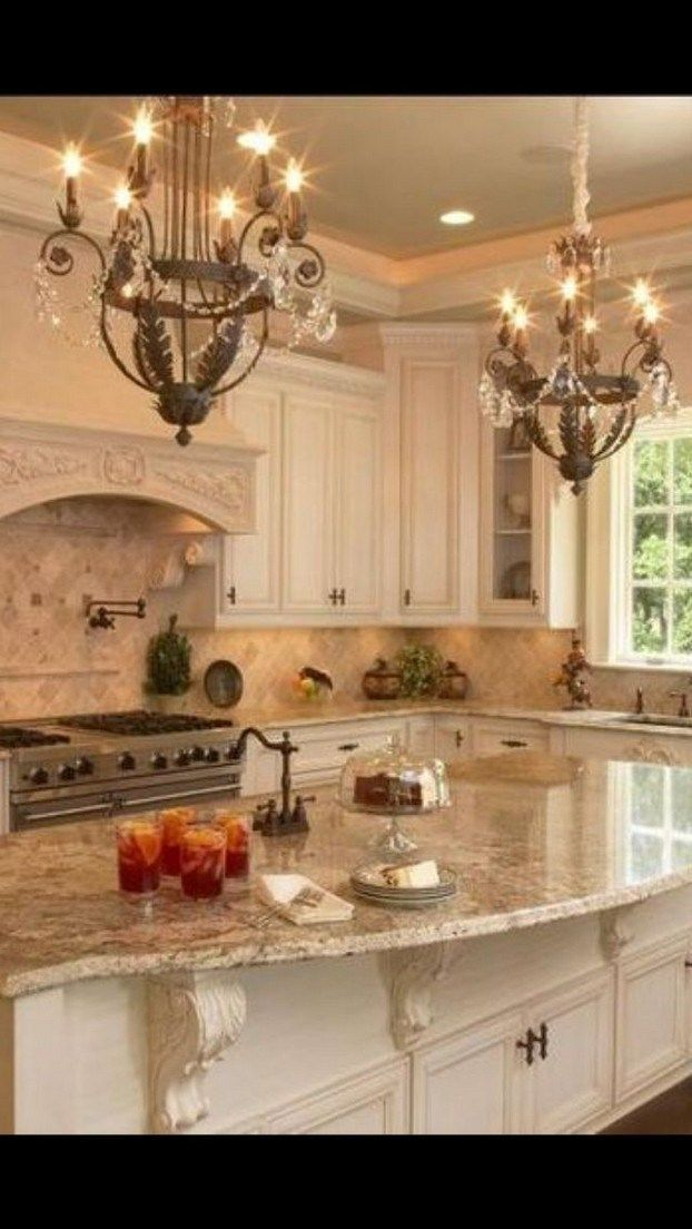 46 lovely kitchen backsplash with dark cabinets decor ideas 19 - Country kitchen lighting, French country kitchens, Luxury kitchens, Kitchen renovation, French country kitchen, Home decor kitchen - 46 lovely kitchen backsplash with dark cabinets decor ideas 19