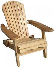 Cadeira Dobrável Jardim Adirondack feita de Madeira de abeto com um acabamento natural