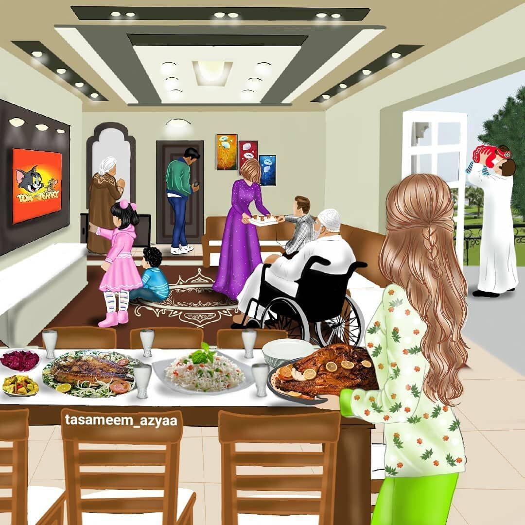 اسم هالرسمة يوم الجمعة تمثل لمة الاهل بيوم الجمعة وعودة الرجال من صلاة الجمعة والغداء اكيد اما سمك شوي او دجاج او كباب بالنسبة Mom Art Sarra Art Girly Art