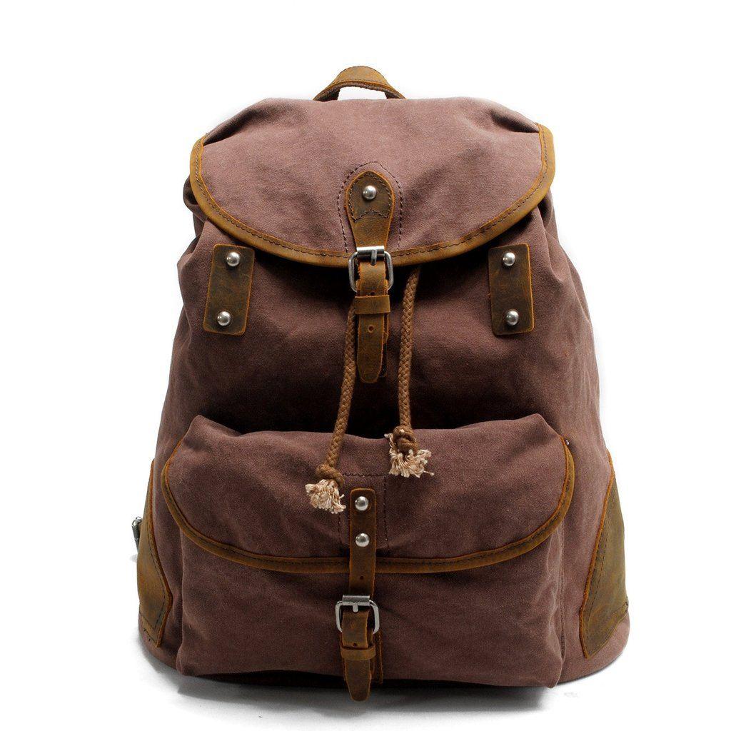 Large Women Men Leather School Backpack Shoulder Travel Rucksack Buckle Zip Bags