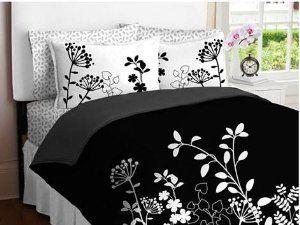 Amazon.com - Black White Flower Girls TWIN Comforter Set Bed in a Bag Set -