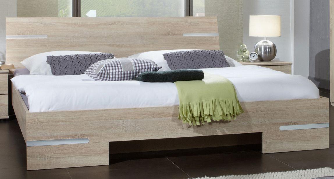 Bett 180 X 200 Eiche Sägerau Woody 13200151 Holz modern