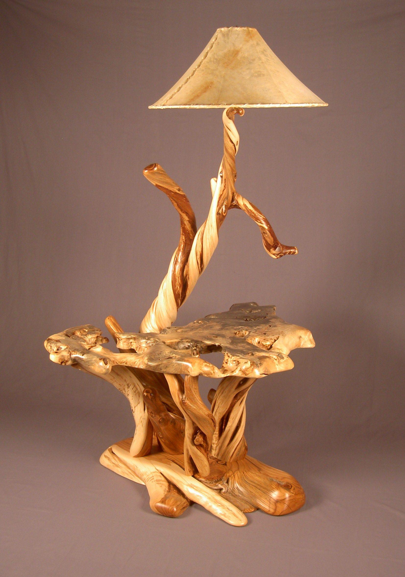 Rustic Burl Wood Bedroom Furniture: Juniper Floor Lamp With Buckeye Burl