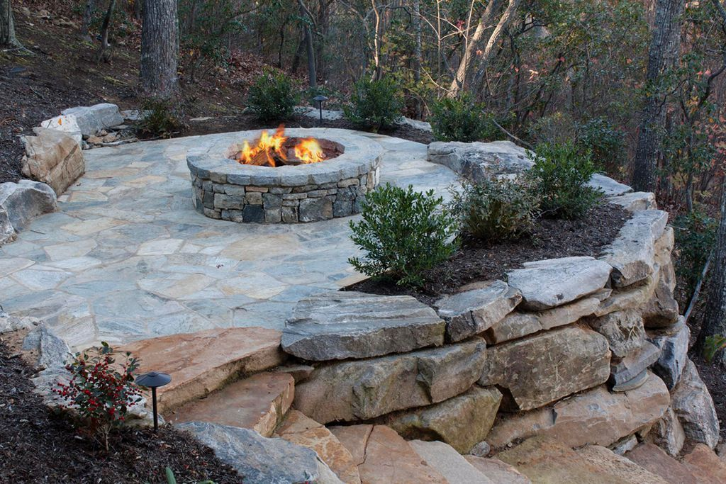 Rustic LandscapeYard with Pennsylvania Variegated Bluestone Flagstone