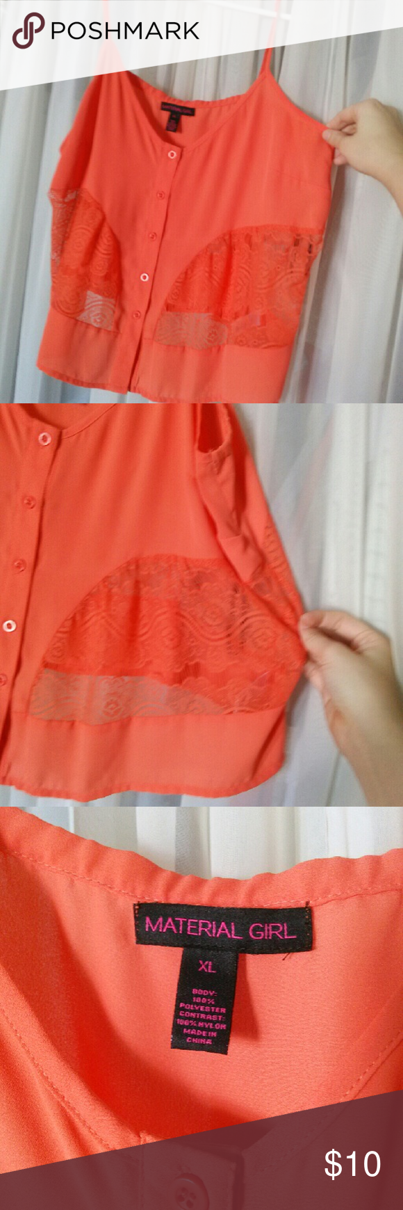 Pink see through lace dress  Orange lace chiffon button crop top Orange with lace see through