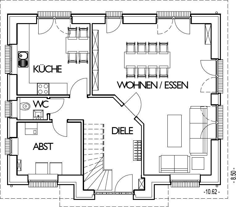 Friesenhaus Grundriss Erdgeschoss mit 70,85 m²