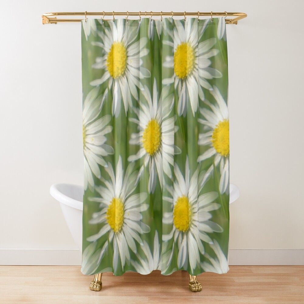 Daisy Macro Seamless Shower Curtain By Vikingvisual In 2020