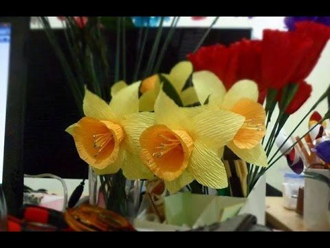 How to make narcissus crepe paper flower tutorial very nice video how to make narcissus crepe paper flower tutorial very nice video with a mightylinksfo