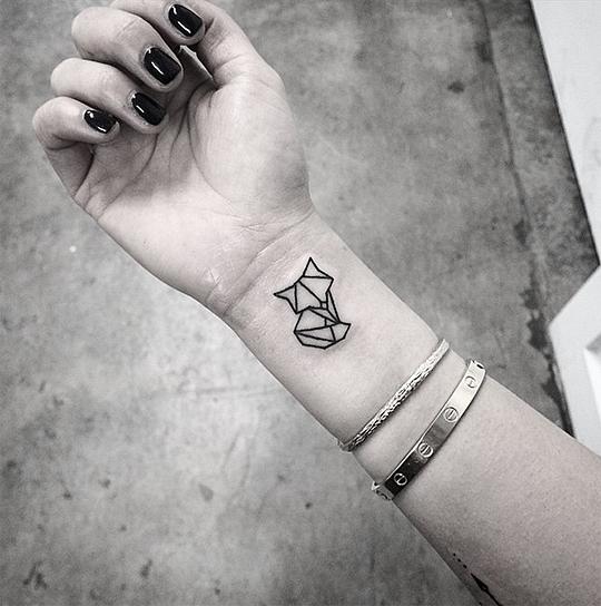 Little Cute Geometric Fox Tattoo On Wrist Tattoo Designs Arty