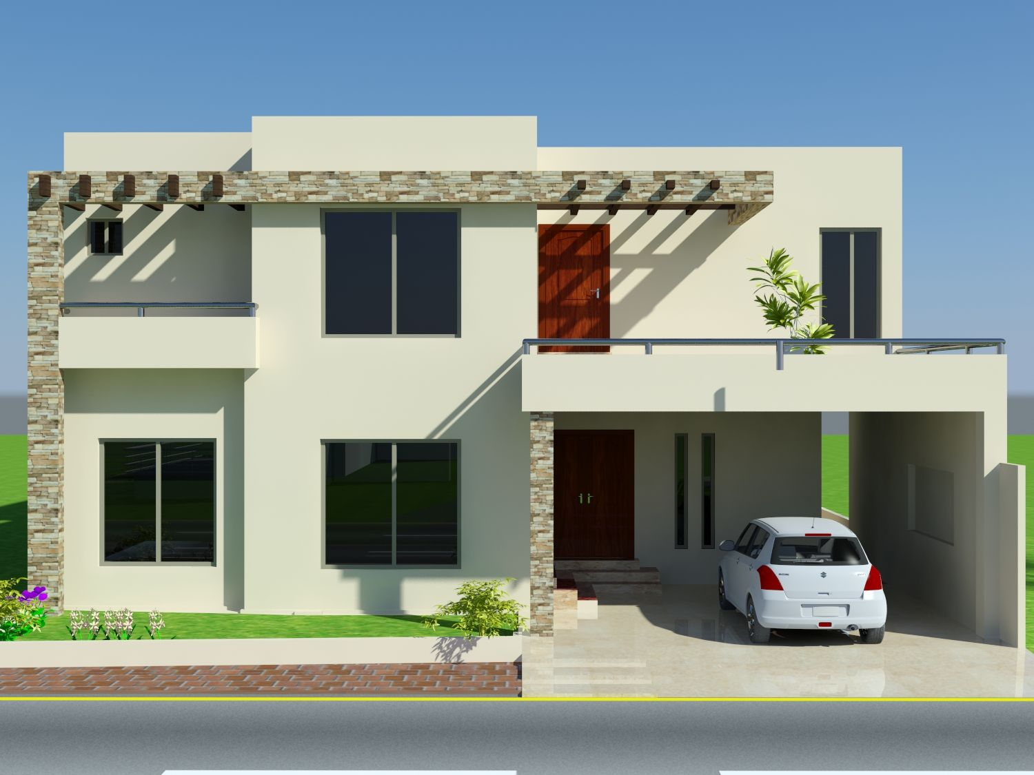 Front house design mian wali pakistan home elevation marla for Front elevation modern house