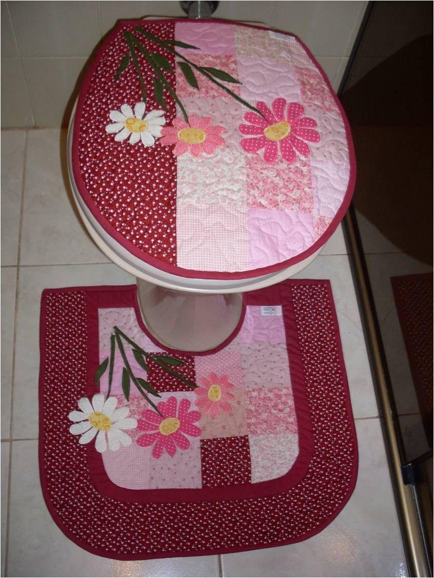 Kit Banheiro Em Tecido : Kit para banheiro em patchwork