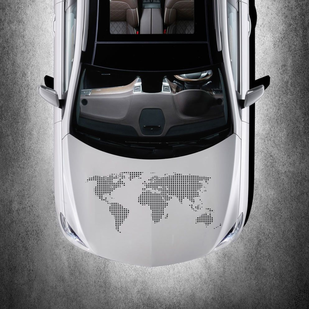 WORLD MAP EARTH HOOD CAR VINYL STICKER DECALS GRAPHIC MURALS CUTE - Custom vinyl decals for car hoodsowl full color graphics adhesive vinyl sticker fit any car hood