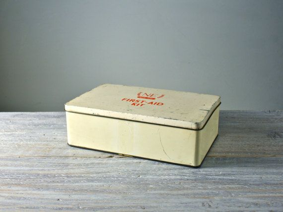 Vintage First Aid kit tin  Cream and red medical storage box