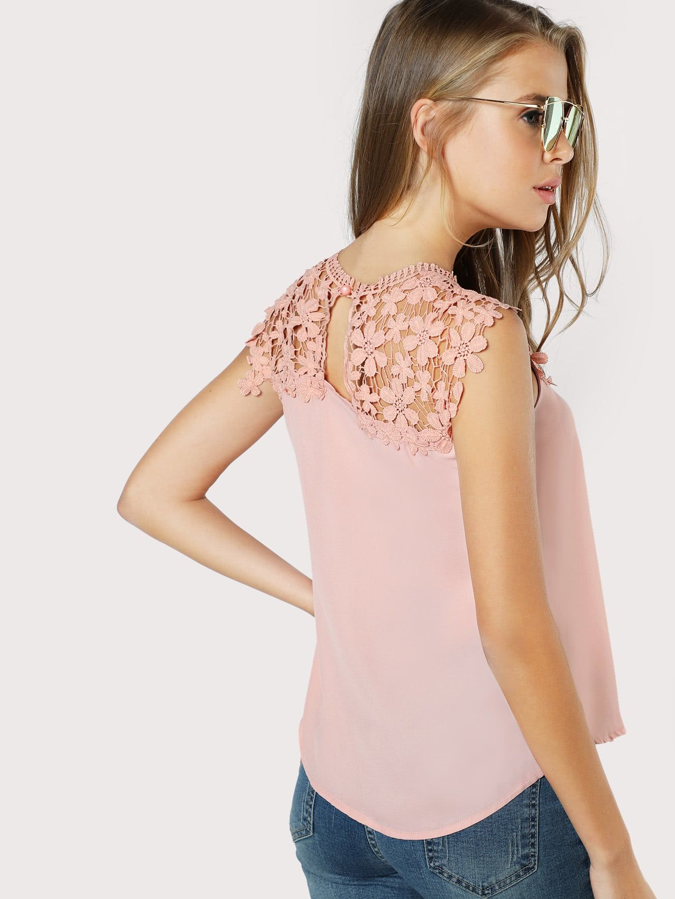 f1091afac6beb Keyhole Back Daisy Lace Shoulder Shell Top -SheIn(Sheinside ...
