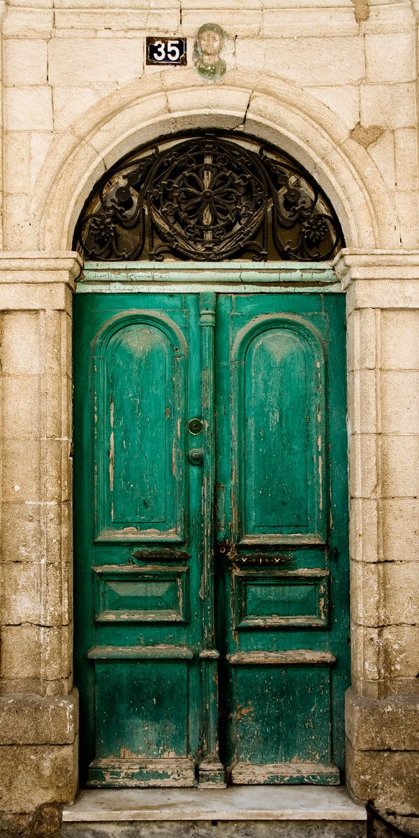 Faded Green Doors In The Old Town Of Chania On The North West Coast Of Crete Gorgeous Doors Beautiful Doors Vintage Doors
