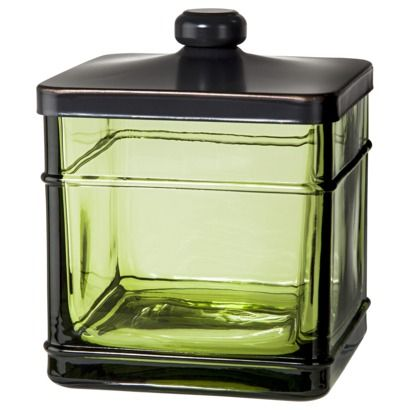 Threshold Antique Glass Bath Canister Green Matches My Soap Dispenser Love This Funky Look