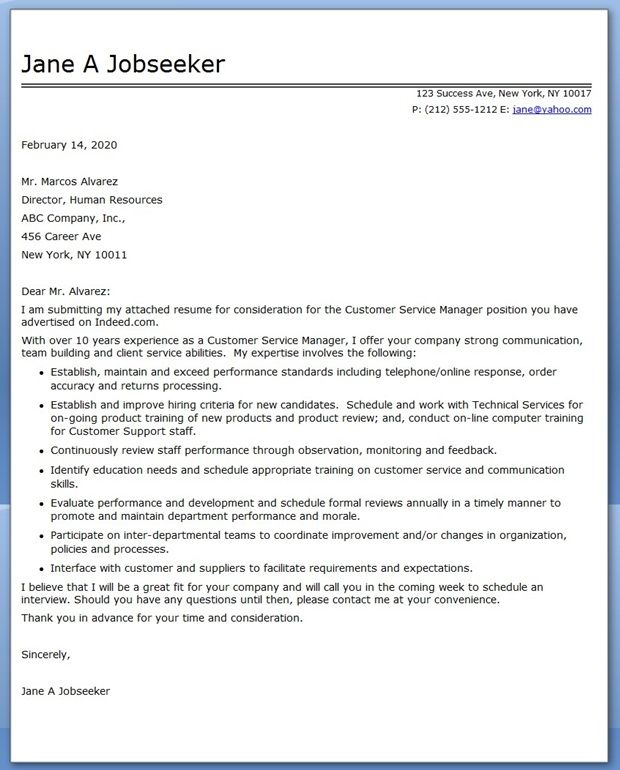 customer service manager cover letter sample - Professional Cover Letter Service
