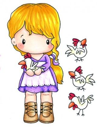 C.C. Designs - Cling Mounted Rubber Stamp - Swiss Pixie Lucy with Chickens,$7.99