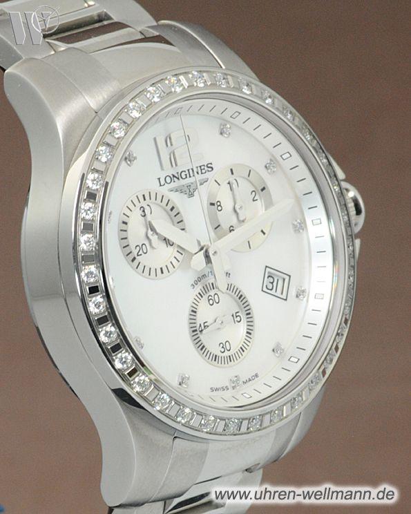Longines Diamant Conquest L 32790876 Chronograph Damenuhr Stahl