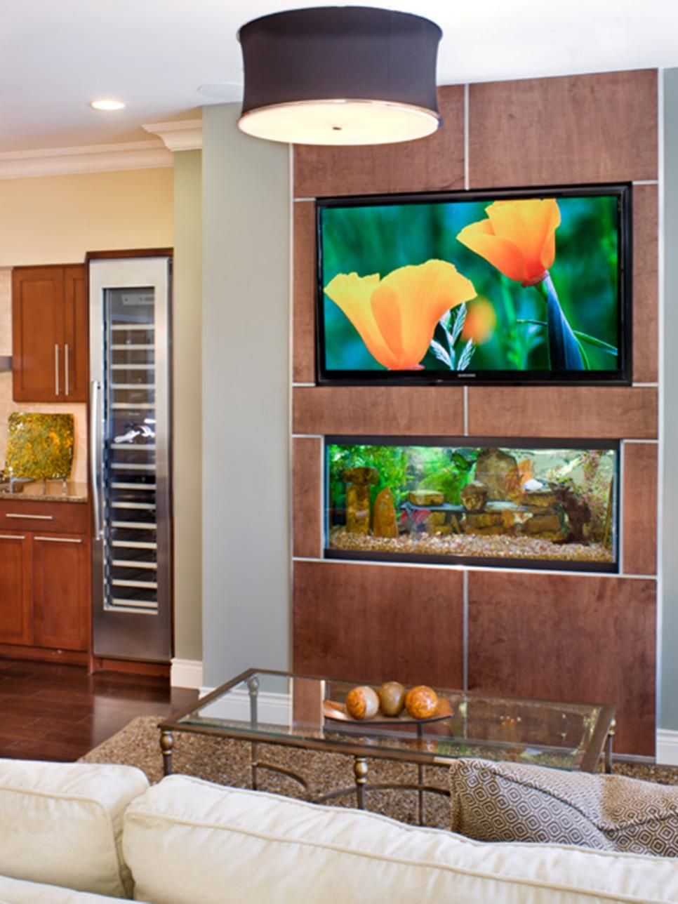 In a whimsical move, an inset fish tank was custom