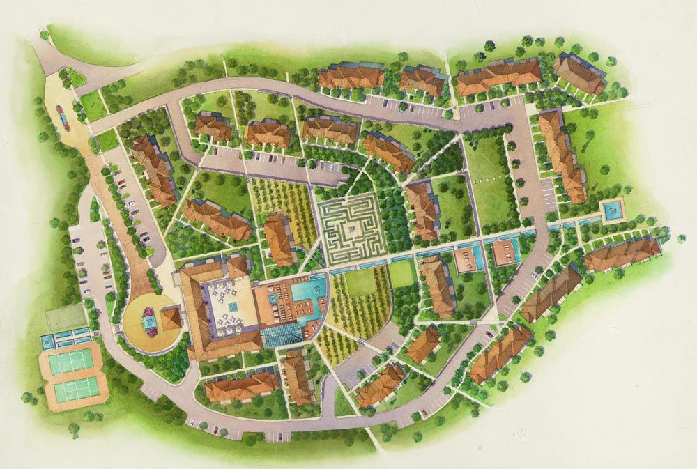 29 Watercolor Site Plan Rendering Marriott Vacation International Site Plan Rendering How To Plan Site Plan