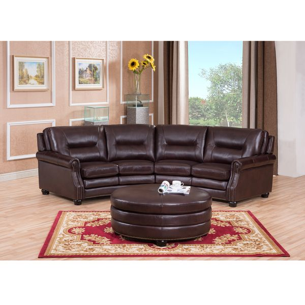 Delta Chocolate Brown Curved Top Grain Leather Sectional Sofa and Ottoman  sc 1 st  Pinterest : round sectional sofa leather - Sectionals, Sofas & Couches