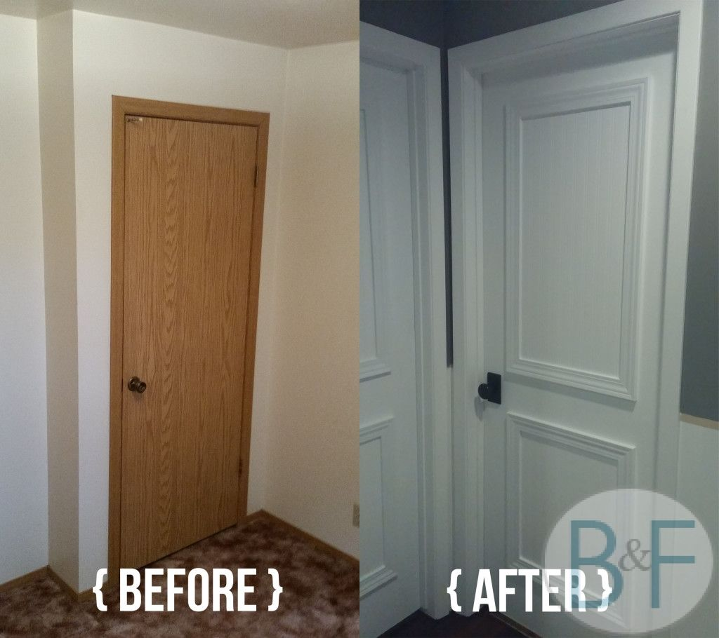 Hollow core door makeover with paint trim and new knobs for Bedroom door designs