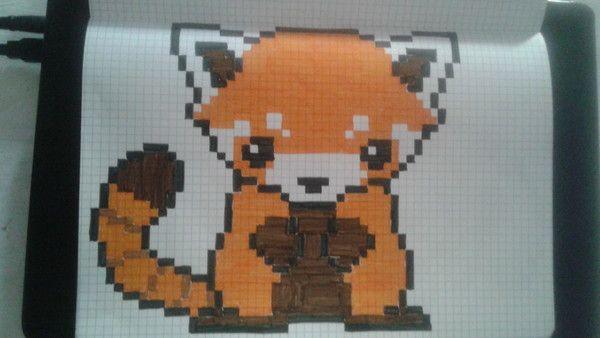 Panda Roux Dessin Kawaii Panda Dessin Petit Carreau Dessin Carreau