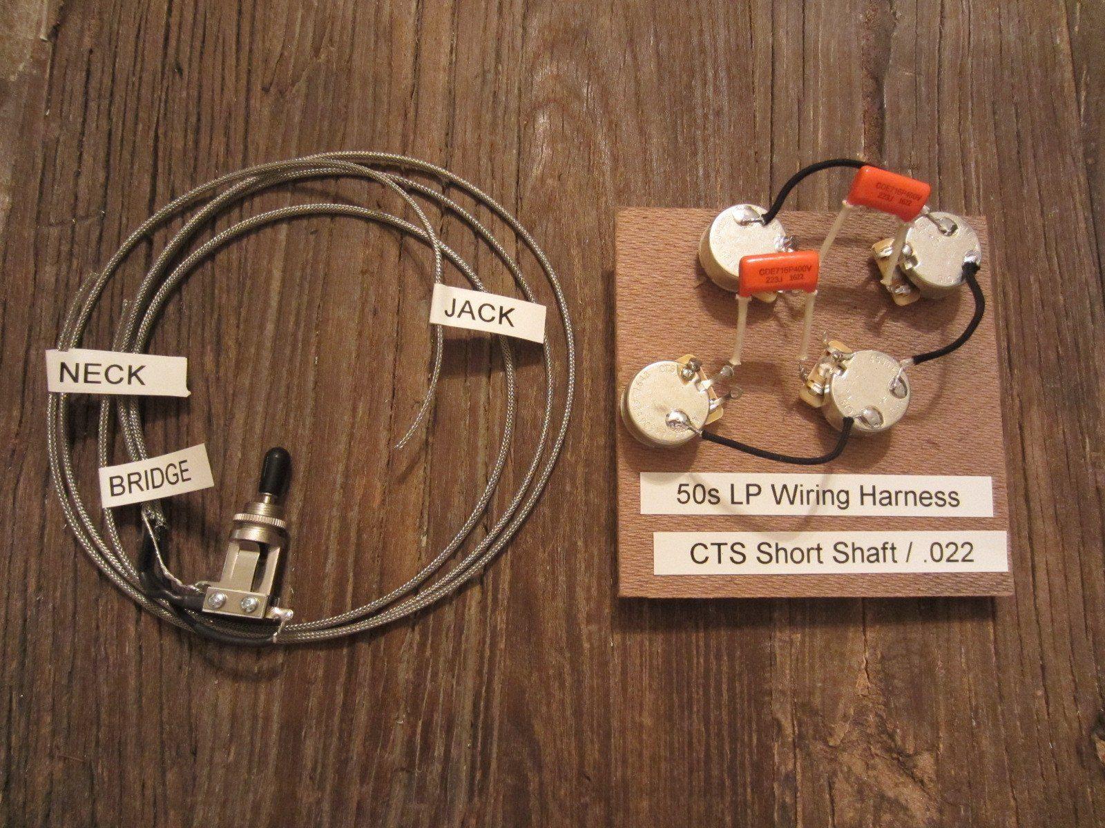3p Cs50lp Od St 50s Les Paul Wiring Harness W Toggle Switch Cts 500k Short Shaft Pots Orange Drop 022 Caps