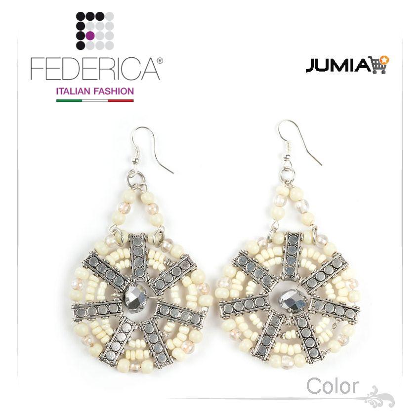 Earrings MAYA 3  Pendant earrings with glass bead disc. White. 3,200.00 Ksh http://www.federicafashion.com/ep63/earrings-maya-3/ http://www.jumia.co.ke/federica-fashion/