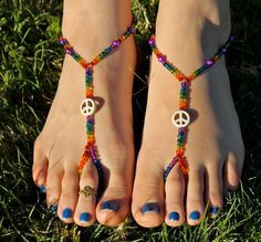 Rainbow Peace Sign Barefoot Sandals Slave Anklet by HouseOfBlaise, $18.00