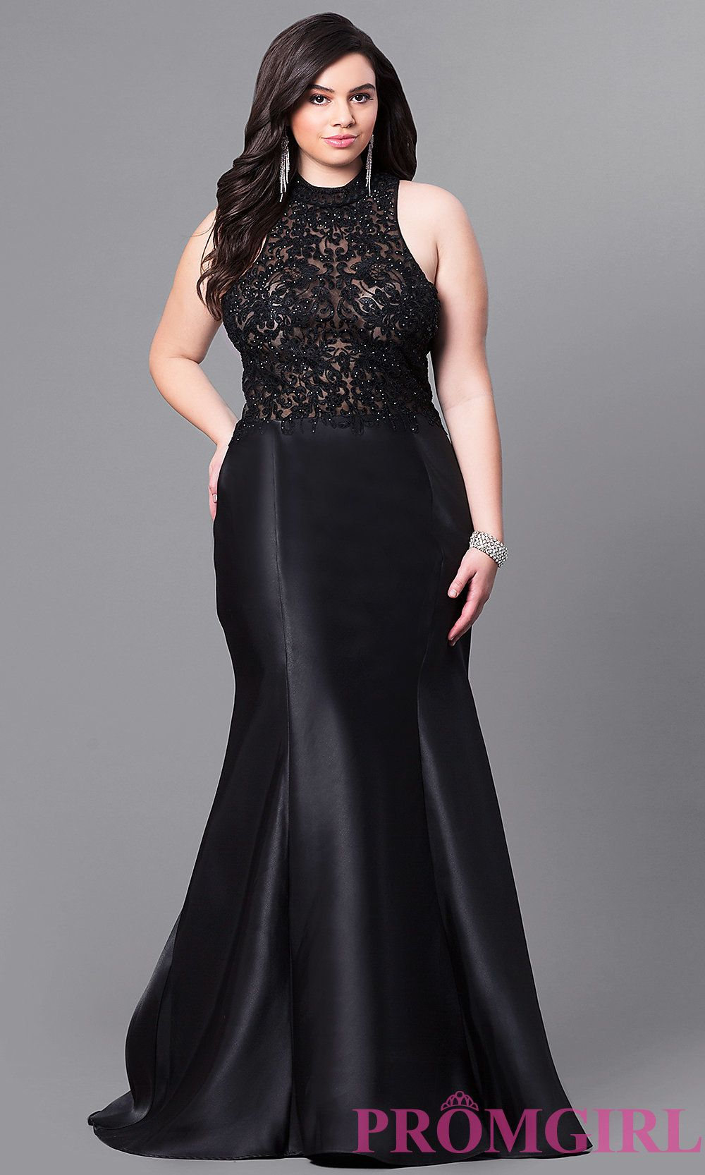 High-Neck Plus Size Prom Dress with Embroidered Bodice ...