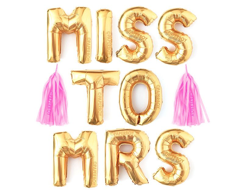 miss to mrs banner balloon garland with tassels kit party bride bridal shower rose gold letter balloons decoration ideas