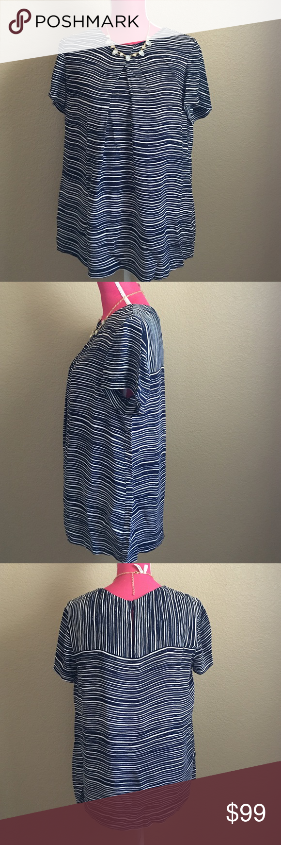 L.K.Bennett pleated stripe blouse Lovely blouse in a blue and white stripe. Soft. Pleat in front. Key hole detail in the back. Brand new. From nordstrom. Offers welcome through offer tab. No trades. 10719161201 LK Bennett Tops Blouses