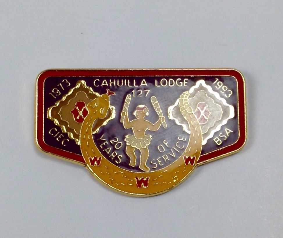 BSA Boyscout Cahuilla Lodge 20 years of service PIN 1973-1993 in Collectibles   eBay