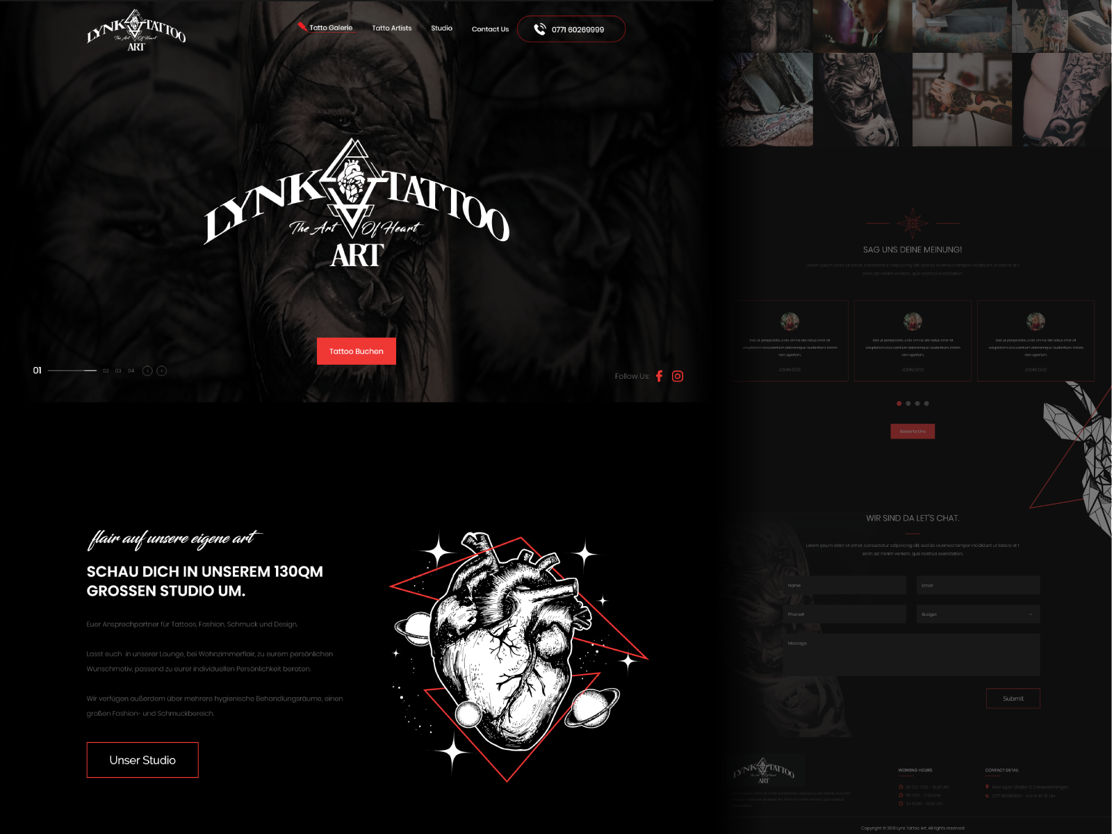 Lynk Tattoo Art Website By Inkyy Com Graphic Design Services Creative Web Design Web Design