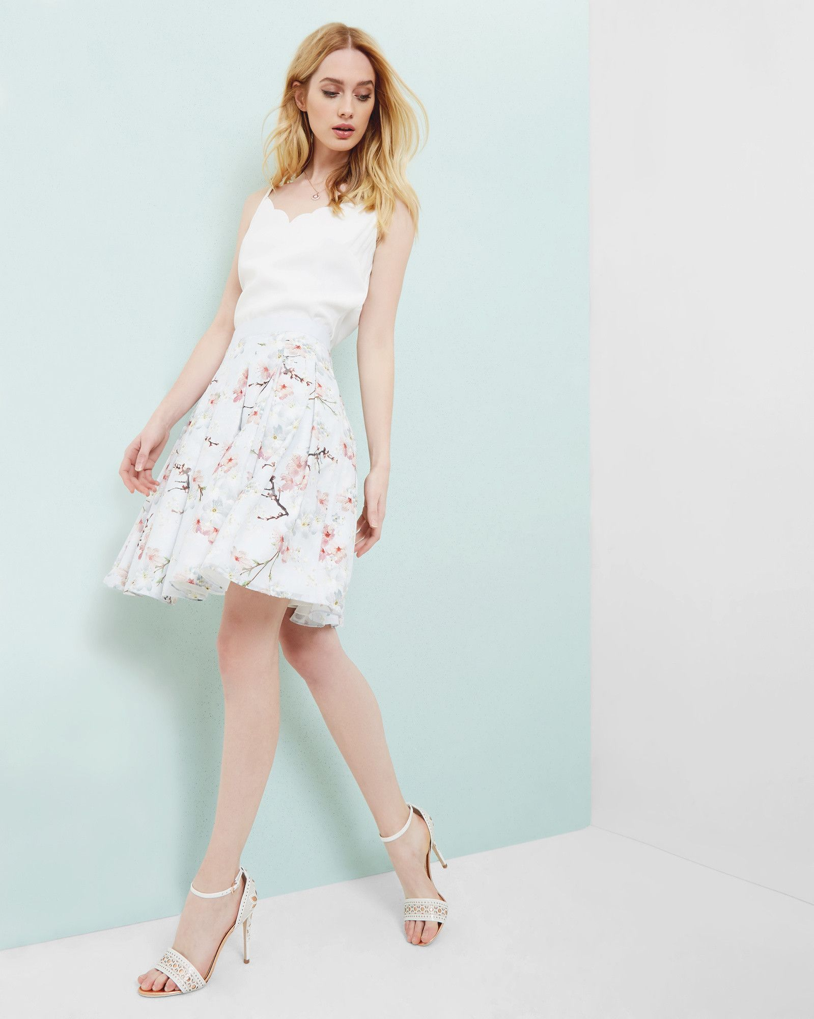 Pale pink dress for wedding guest  Oriental Blossom pleated skirt  Light Gray  Skirts  Ted Baker