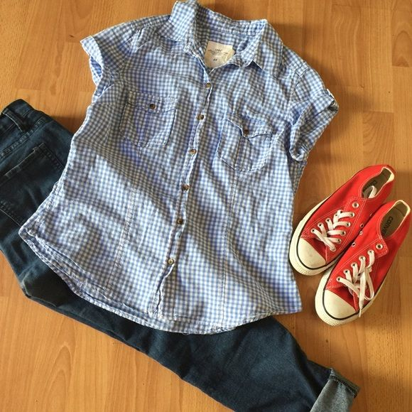 H&M Plaid Baby Blue Blouse Super cute for the Rockabilly look or Country style look! H&M sizes vary might be a smaller 12 H&M Tops Blouses