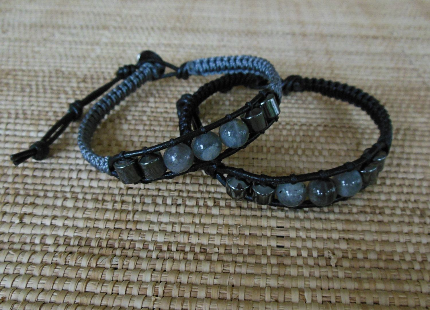 bracelet clasp store stone teen hematite black natural men copper jasper masculine youth accent goth beaded unisex