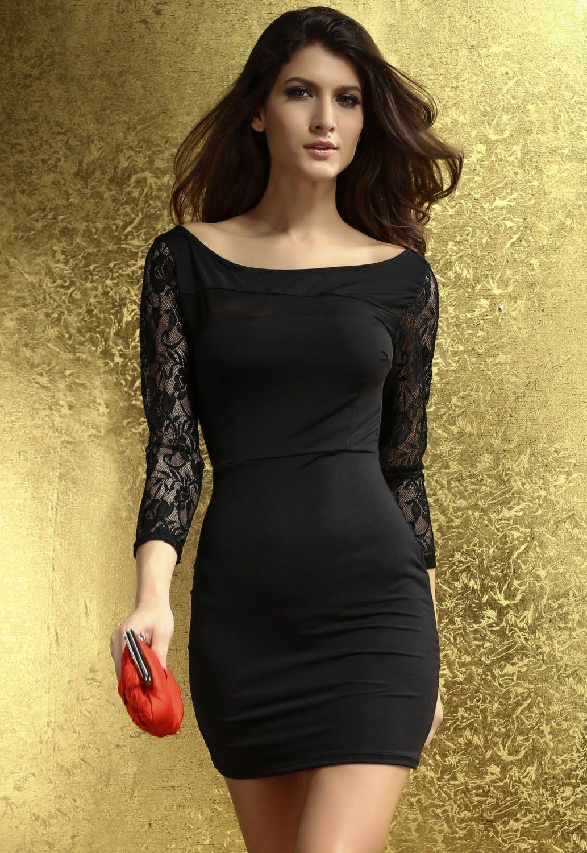 zwarte jurk met kanten mouwen