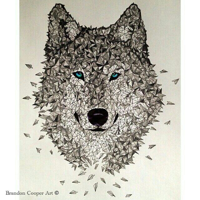 Awesome idea by Brandon Cooper: A #penandink & #coloredpencil #illustration of a #wolf made of #paperairplanes! Brandon titled this Polygon Wolf Design and I think it looks incredible like the wolf could just #collapse and #fly away at any moment... Great work @brandon_cooper!  #AnimalAirship