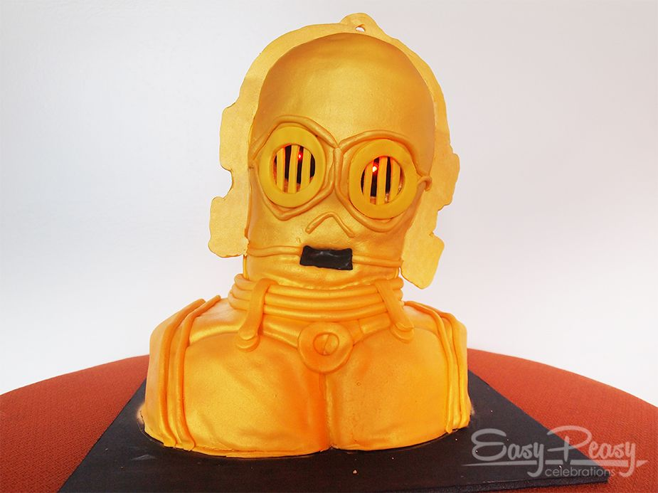 "C3PO birthday cake 10"" round x 15"" high"