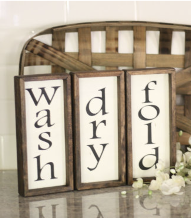 Wash Dry Fold Signs Laundry Room Rustic Wooden Wood