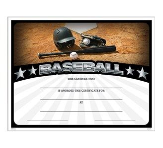 baseball athletic certificate