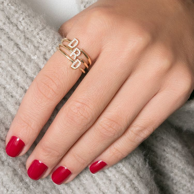 8a53c9263a343e DRD Double Initial Ring in 2019 | DRD RINGS | Rings, Gold rings ...